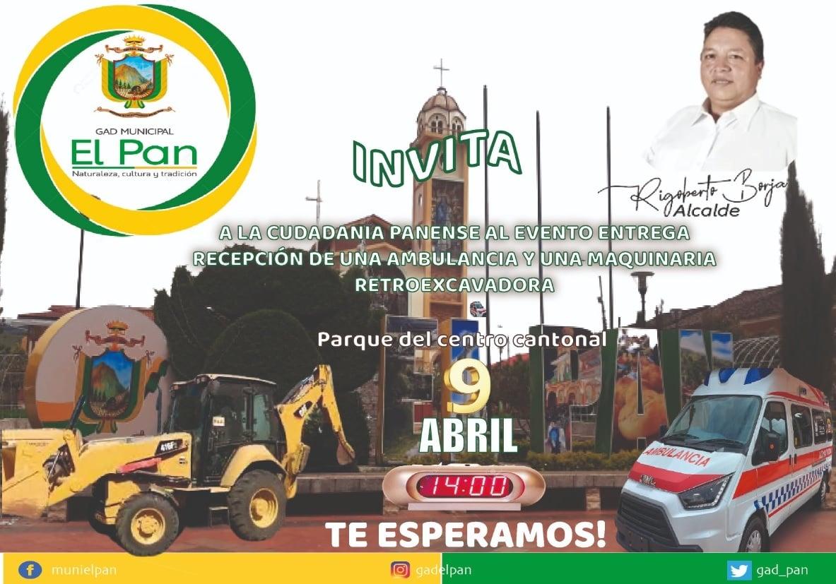 EVENTO ENTREGA RECEPCIÓN DE UNA AMBULANCIA Y UNA RETROEXCAVADORA.